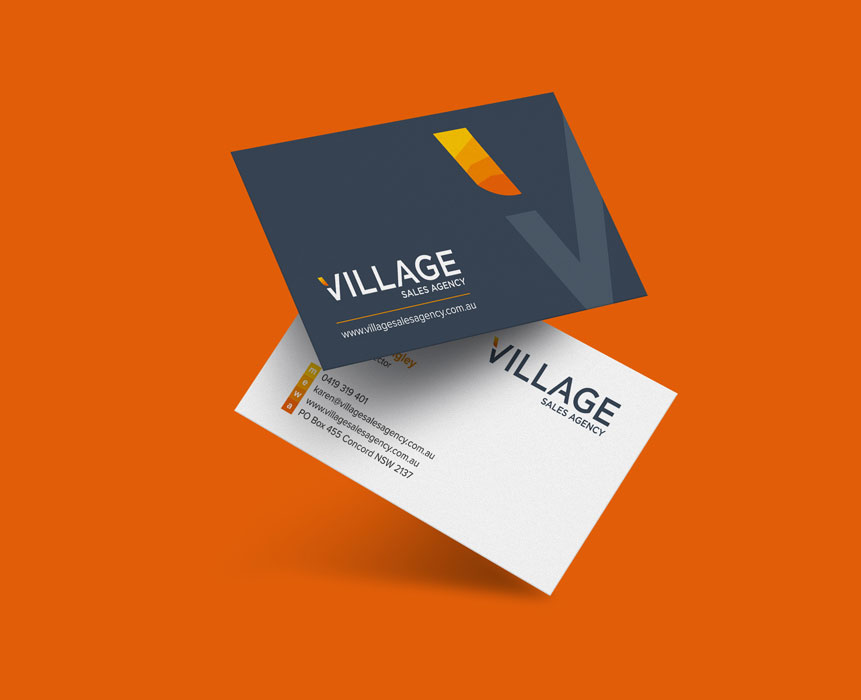 business card design for village sale agency