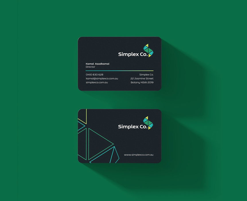 business card design for simplex co