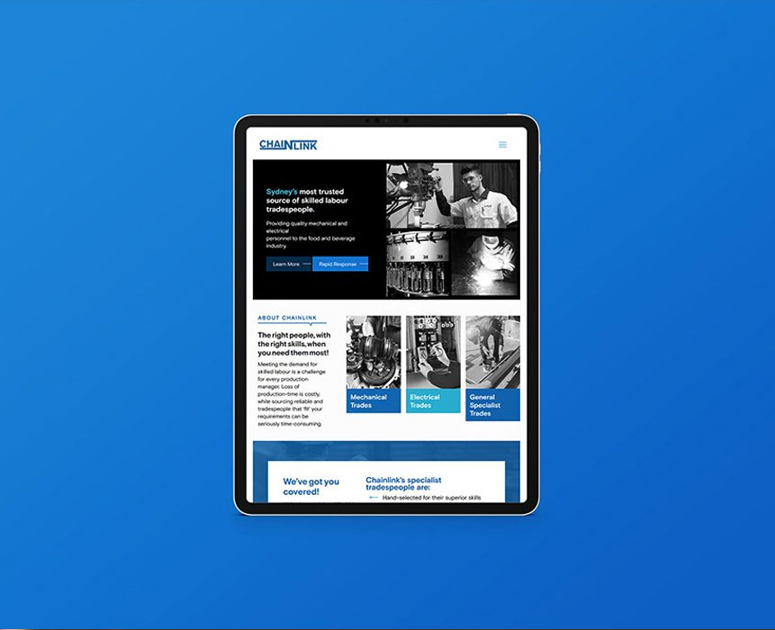 website design for chainlink