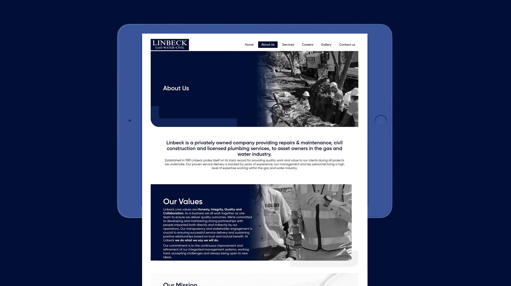 Linbeck Website design